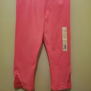 Pink capris with lace bottom